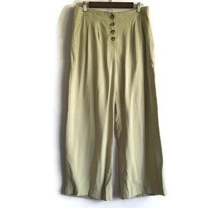 LOFT High Waist Button Fly Wide Leg Crops Tan 6